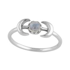 Sterling Silver Double Moon With Rainbow Moonstone Ring.-925 sterling silver.-Rainbow Moonstone measures 5mm.-Oxidised finish.-Packaged in an Empty Casket drawstring jewellery pouch.For help with ring sizes please click the 'RING SIZES' link at the bottom of the page.