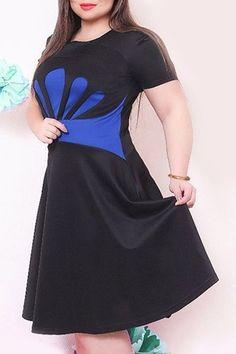 Stylish Round Neck Short Sleeve Plus Size Spliced Dress For Women