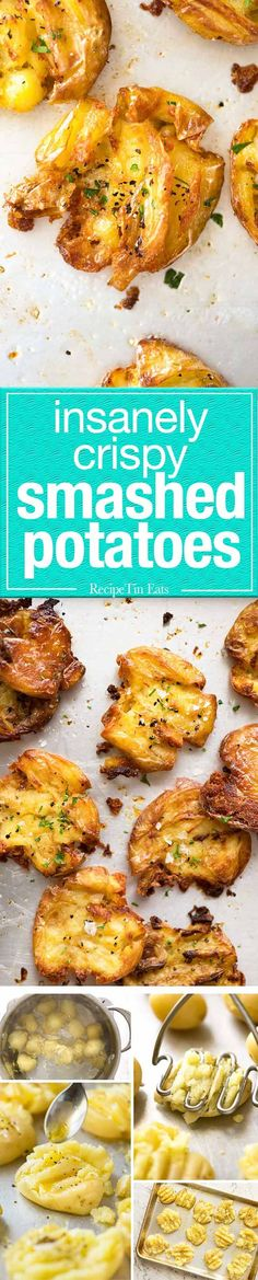 The best, buttery, golden, ultra crispy smashed potatoes you will ever have! www.recipetineats.com