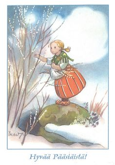 Martta Wendelin | par sari_ba2012 Vintage Christmas Cards, Vintage Holiday, Christmas Art, Spring Images, Vintage Easter, Winter Scenes, Vintage Pictures, Illustrations Posters, Vintage Art
