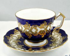 Lovely,Aynsley Teacup & Saucer, Crocus Shape, Navy Blue Gilded Borders, Bone English China made in 1970s