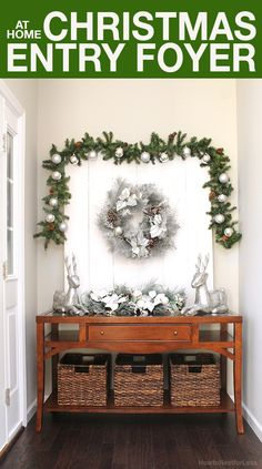My entry foyer is getting a little love today for the Christmas season. Come check out the deals I got and tips for decorating on a budget! #AtHomeforChristmas #AtHomeFinds #ad @AtHomeStores