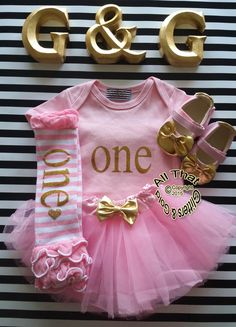 Pink and Gold Glitter One Year Old Birthday Tutu Outfits