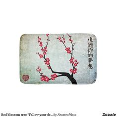 "Red blossom tree ""Fallow your dreams"" Bath Mat"