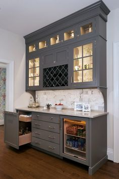 Butlers Pantry Bar Cabinet With Wine Storage Beverage Refrigerator Lighted Cabinetry And Liquor
