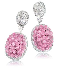Pink Sapphire Briolette Drop Earrings  These sparkly earrings are composed of 4.14 carats of rose cut diamonds and 26 carats of pink sapphires.