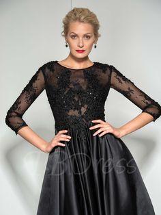 3/4 Length Sleeve A-Line Round Neck Beaded Appliques Tea-Length Evening Dress