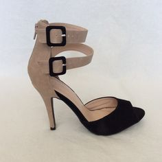 NWOT-LILIANA Suede Open Toe Stilettos Liliana Black and Tan Suede Open Toe Double Ankle Strap with Zippered Heel Stilettos. Gorgeous NEVER WORN Heels. Liliana Shoes Heels