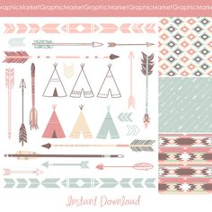 Arrows, Teepee Tents and tribal digital papers - Indian Clip art for scrapbooking, wedding invitations, Personal and Small Commercial Use. on Etsy, $5.73 AUD