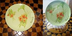 Gift idea: hand painted dish, with flowers. Light colours on light green ceramic. This is for my grandma.