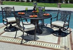 The Serena Collection 4-Person All Welded Cast Aluminum Patio Furniture Dining Set new for Fall.