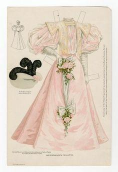 Бумажные куклы, ретро.Наряд подружки невесты 1895