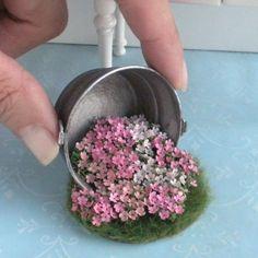 Galvanized Tub of Spilled Flowers for a Garden - Dollhouse Miniature