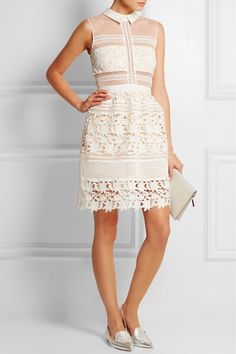 White and sand mesh, white floral-lace Hook and zip fastening at back 100% polyester; lining: 91% polyester, 9% elastane Hand wash