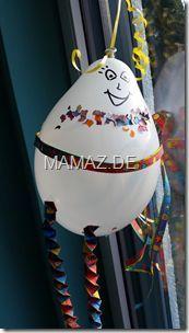 Basteln mit Kindern: Ballonfigur mit Luftschlangen - einfache Bastelidee für Fasching - DIY - Karneval - Hexentreppen