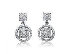 f9489799b chicmarket.com - Rozzato Sterling Silver Rhodium Plated Cubic Zirconia Round  Drop Earrings Dangle Earrings