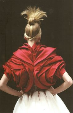 Exquisite Textures - beautiful red bolero with elegant layered texture details // Alexander McQueen