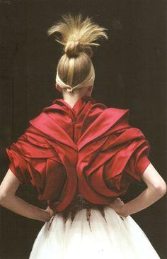 Exquisite Textures - beautiful red bolero with elegant layered texture details // Alexander McQueen