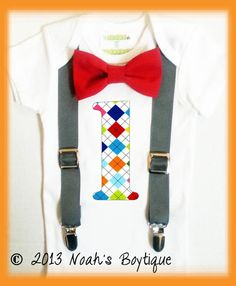 First Birthday Outfit Boy - Baby Boy - Birthday Number One - Grey Suspenders Red Bow Tie - Argyle Number One - Colorful Birthday Boys First Birthday Shirt, First Birthday Outfits Boy, Baby Birthday, Baby Boy Outfits, Birthday Ideas, Birthday Music, Birthday Bash, Twins 1st Birthdays, Baby Boy Cakes