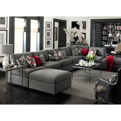 Beckham U-Shaped Sectional,  I really like the charcol of the sectional, and the few accent color with this bright red, looks really elegant and contemporary. Living Room White, White Rooms, New Living Room, Home And Living, Living Room Furniture, Living Spaces, White Walls, Modern Living, Gray Furniture