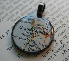 GRAND RAPIDS Michigan Map Pendant