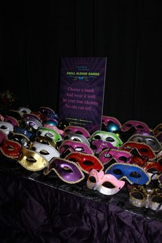 A table of masks was set for guests to choose their disguise for the evening