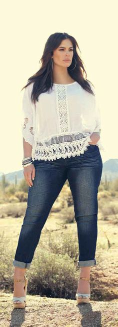 white trendy summer blouse with denim. summer collection from addition elle.