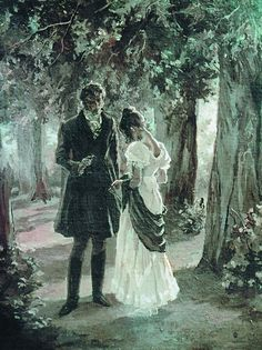 Lizzy and Darcy - Pride and Prejudice, Jane Austen. My favorite part of the story that isn't in either of the movies. Jane Austen Books, Jane Eyre, Emma Jane Austen, Darcy E Elizabeth, Darcy Pride And Prejudice, Eugene Onegin, Film Anime, Art Ancien, Illustration
