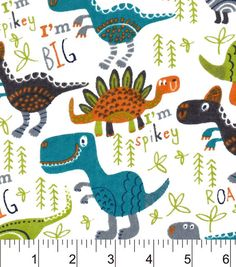 Snuggle Flannel Fabric-Roarrrrr