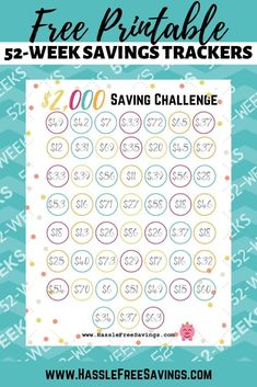 These free printable money challenge charts will help you track your savings. Color in or check off your savings tracker each week for 52 weeks. Saving Money Chart, Money Saving Tips, Saving Ideas, Money Tips, Saving Money Weekly, Money Hacks, Money Box, 52 Week Saving Plan, 52 Week Money Challenge