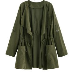 SheIn(sheinside) Olive Green Drape Collar Drawstring Waist Coat (1.050 RUB) ❤ liked on Polyvore featuring outerwear, coats, jackets, tops, army green, hooded coat, drawstring coat, green coats, short coat and green hooded coat