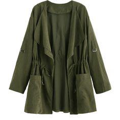 Olive Green Drape Collar Drawstring Coat (€11) ❤ liked on Polyvore featuring outerwear, coats, jackets, tops, green, drawstring coat, green hooded coat, hooded coat, short coat and long sleeve coat