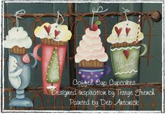 Coffee Cupcakes Painted by Deb Antonick por PaintingWithFriends