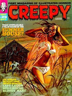 Creepy Eerie Vampirella More 431 Warren Magazines on 2 DVDs Horror Fantasy Scary Comics, Sci Fi Comics, Horror Comics, Horror Art, Creepy Horror, Horror Films, Book Cover Art, Comic Book Covers, Comic Books Art