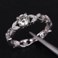 Floral Shank Art Deco Diamond Ring 14K Gold 5mm Round Moissanite Engagement Ring, Wedding Ring on Etsy, $489.00