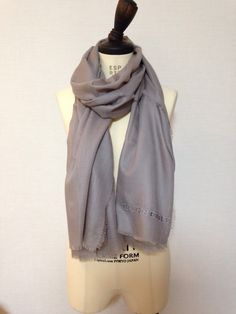 BURBERRY Embroidered light weight cashmere  scarf
