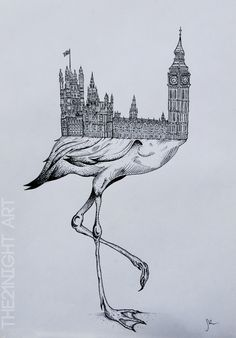 Rare Unique Animals by: The21Night  -Flamingo Ben  ►https://www.behance.net/the21night   #Illustration #Art #Flamingo #Drawing #Surrealism #BigBen #London #Animals #Arquitecture