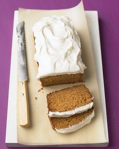 Carrot Tea Cake with Cream Cheese Frosting. My husband's favorite. I think I'll surprise him by making this soon!
