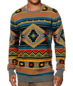 Stand out in style with a multicolor tribal print intarsia knit design with a comfortable cotton-acrylic construction.