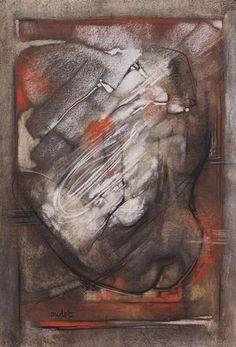 Georges OUDOT (1928-2004)  Composition au nu  Pastel, signé en bas