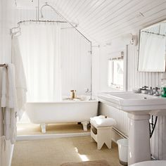 this is an awesome farmhouse bathroom, reminds me of visiting my great grandparents in Iowa. I love the beadboard walls and ceiling, the light, the simplicity