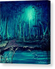 Canvas Print, forest,lake,landscape,woods,forestscape,scenery,night,dreamscape,dreamy,dreamlike,fullmoon,moonlight,trees,magical,light,shine,illuminated,luminous,calm,peaceful,tranquile,enchanted,mystery,mystifying,moody,atmpospheric,whimsical,mystical,fantasy,monochrome,realism,imagination,blue,teal,in,at,by,with,of,the,fine,art,oil,painting,artworks,products,items,for sale,online,fine art america