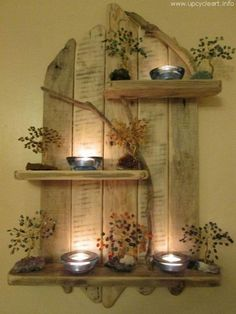Ted's Woodworking Plans - Amazing Natural Driftwood Tall Shelves Solid Rustic Shabby Chic Unique Artwork in Home, Furniture DIY, Furniture, Bookcases, Shelving Storage Rustikalen Shabby Chic, Shabby Chic Furniture, Diy Furniture, Furniture Projects, Furniture Plans, Furniture Makeover, Wooden Wall Shelves, Pallet Shelves, Rustic Shelves