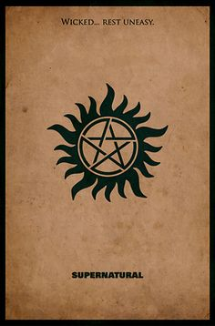 Supernatural Minimalist Poster Design - This trendy, minimal movie poster design for Supernatural is perfect for fans of the hit TV show. A bold, slightly vintage look, graphic design feature Sam and Dean's the anti-possession tattoo.This fun poster design looks great on T-shirts, hoodies, stationary and other merchandise too!
