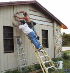 """Funny Safety Pictures reinforce the saying I heard years ago."""" These folks are working hard, but not thinking very hard at all or thinking ahead. Ladder Safety Training, Safety Ladder, Construction Fails, Construction Safety, I See Stupid People, Safety Pictures, Safety Fail, Darwin Awards, Wtf Moments"""