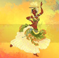 Disney dancers series by blatterbury: Tiana. Tiana And Naveen, Disney Princess Tiana, Disney Princess Fashion, Frog Princess, Disney Style, Tangled Princess, Sailor Princess, Princess Merida, Disney Fashion