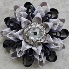 Navy and Silver Wedding Flowers - navy and silver corsage pin