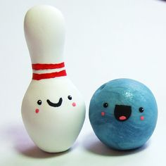 Happy Bowling Pals - Miniature Figurine Set for Terrarium or Cake Topper by The Happy Acorn, $40.00