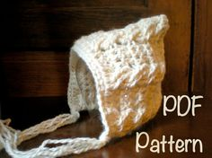 PATTERN:  Crochet Cabled Pixie Bonnet, newborn baby hat, CROCHET PATTERN P D F, InStanT DowNLoaD, Permission to Sell