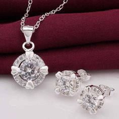 Fashion jewellery charms silver jewelry sets aim white stone N+E collier plastron